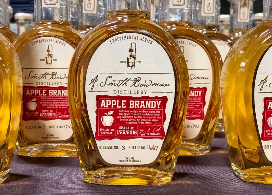 A bottle of Apple Brandy by A. Smith Bowman Distillery