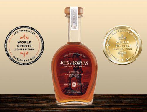 John J. Bowman Single Barrel Virginia Straight Bourbon Awarded Double Gold Medal